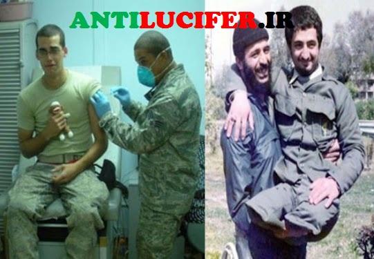 رزمنده ایرانی و سرباز امریکایی